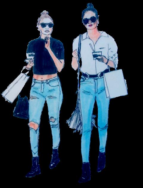 Модни илюстрации: Gigi Hadid и Kendall Jenner