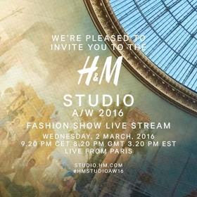 H&M Studio есен/зима 2016 Live Stream от Седмицата на модата в Париж