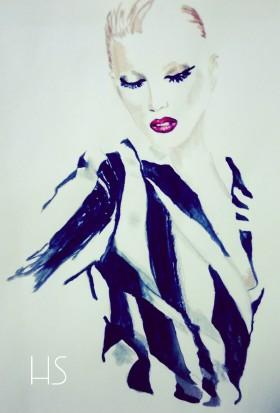 Модни илюстрации: Striped Blazer